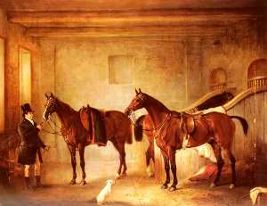 Sir John Thorold's Bay Hunters With Their Groom In A Stable