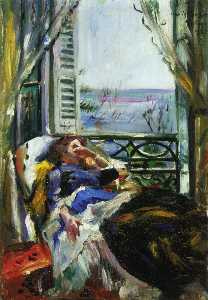 Woman in a Deck Chair by the Window