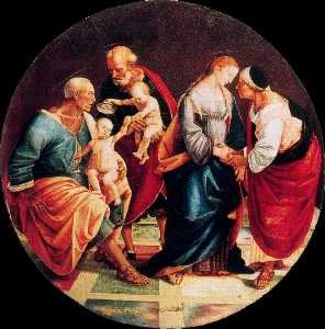 The Holy Family with Zachariah, Elizabeth, and the Infant Baptist