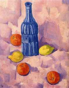 Blue bottle, orange and lemons