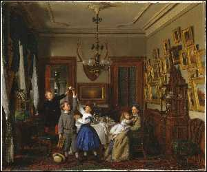 The Contest for the Bouquet. The Family of Robert Gordon in Their New York Dining-Room