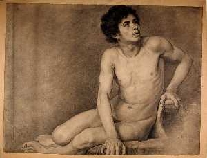 Seated Male Academy Figure