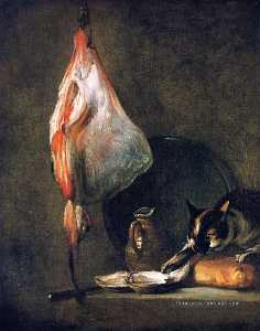 Cat with Ray, Oysters, Pitcher and Loaf of Bread