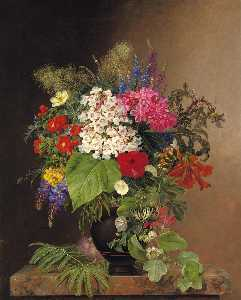 Convulvulus, Lupins, Speedwell and Fuschia in a Vase