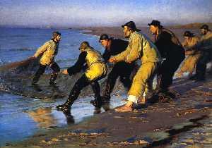 Fishermen Hauling the Net on Skagen's North Beach
