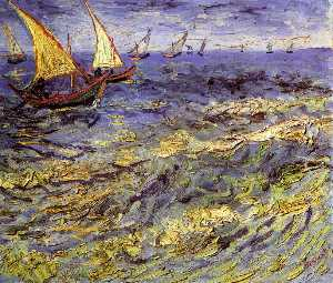 Fishing Boats at Sea (also known as Seascape at Saintes-Maries)