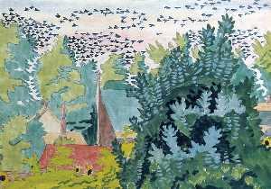 Flight of Blackbirds at Dawn