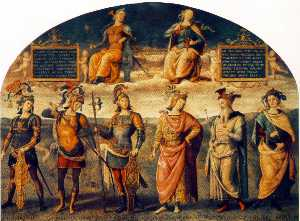 Fortitude and Temperance with Six Antique Heroes