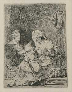 A Holy Family, The Virgin with a basket of Linen