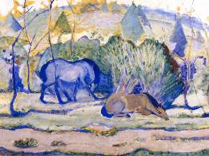 Horses at Pasture (also known as Horses in a Landscape)