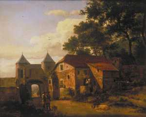 An Imaginary Town Gate with a Triumphal Arch