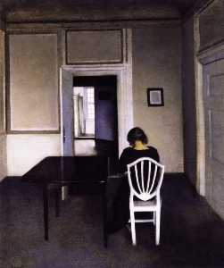 Interior with Ida in a White Chair