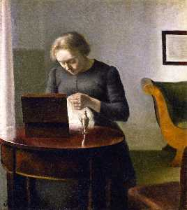 Interior with a Woman at a Sewing Table
