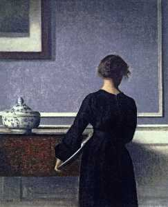 Interior, Young Woman seen from Behind