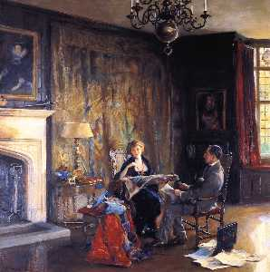 'The Last Days at Chequers' Lord and Lady Lee of Farenam in the Hawtrey Room