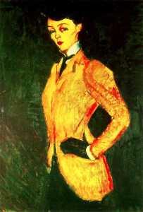 mujer adentro amarillo chaqueta  ríoAmazonas