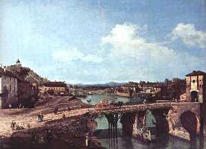 View of an Old Bridge Over the River Po, Turin