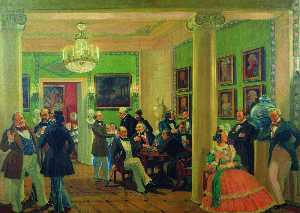 In the living room in Moscow in 1840's