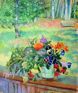 一个 花束  的  花儿  对  的  阳台