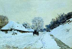 Cart on the Snow Covered Road with Saint-Simeon Farm