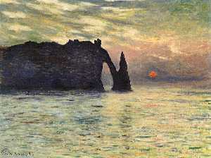 The Manneport, Cliff at Etretat, Sunset