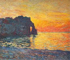 Etretat, Cliff of d`Aval, Sunset