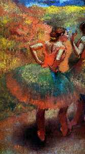 グリーンスカート、風景Scenerで二つのダンサー