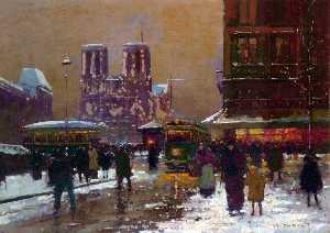 Notre Dame, St. Michael, under the snow