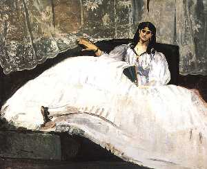 Jeanne Duval, Baudelaire's Mistress, Reclining (Lady with a Fan)