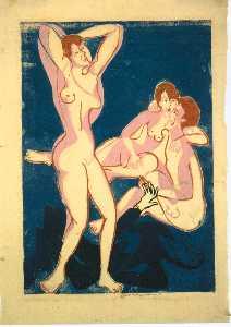 Three Nudes and Reclining Man
