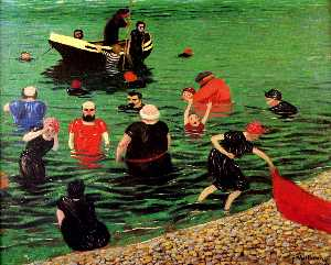 Bathing in Etretat