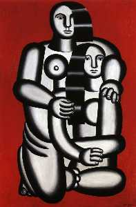 Two Figures, naked on red bottom