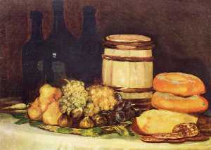 Still life with fruit, bottles, breads