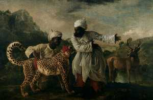 Cheetah with two Indian servants and a deer