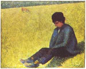 Peasant boy sitting in a meadow