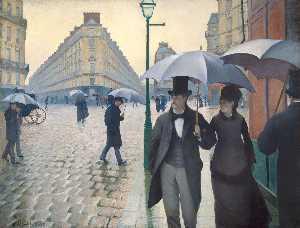巴黎a 多雨的  天