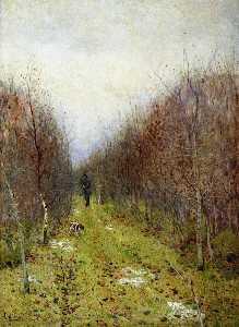 Autumn landscape with hunter