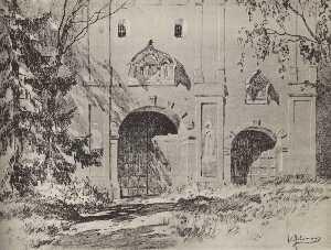 Entrance gate of Savvinsky monastery near Zvenigorod