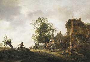 Travellers Outside an Inn