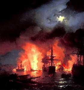 Battle of Cesme at Night
