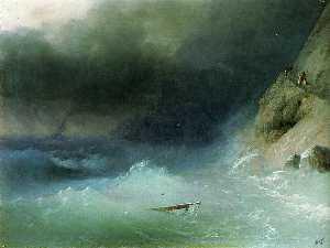 The Tempest near rocks