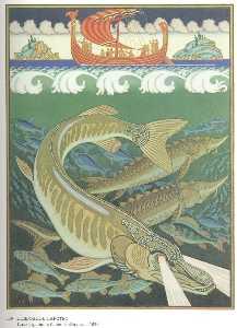 Underwater. Illustration for the epic ''Volga''