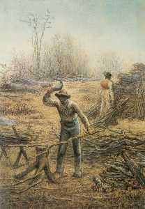 Lumberjack preparing firewood