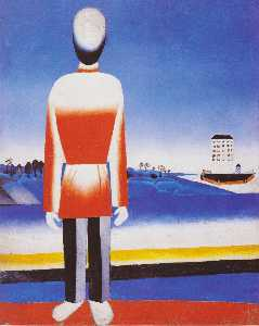 Man in Suprematic Landscape