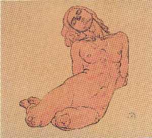 A crouching woman