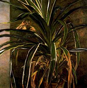 Interior with Plant, Reflection Listening (Self-Portrait)