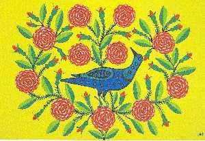Magpie in Roses