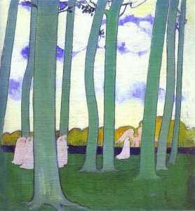 Paesaggio con alberi verdi oppure faggio alberi in kerduel
