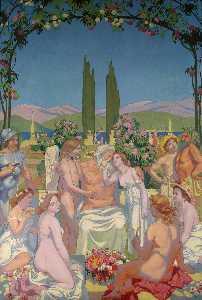 Pannello 5 . Nel Presenza del dei giove dona l'immortalità Psiche e celebra il suo matrimonio Eros