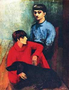 Self-portrait with his wife Renee and dog Kouski